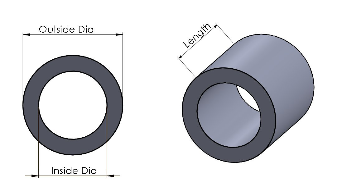 10 Aluminum Spacer 5//8 OD x 1//4 ID x 3//8 L Round by Metal Spacers Online