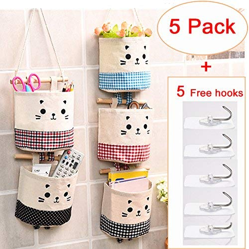 5 Pack Hanging Storage Organizer Hanging Storage Pouch Wall Mounted Storage Pockets Waterproof Wall Door Closet Storage Bag Over The Door Organizer for House Bathroom Office by Amfine