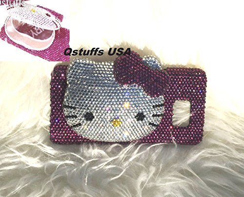 Fits Samsung Galaxy Note 5-3D Hello Kitty Compact Mirror Bling Bling Luxury Purple Crystals Diamonds Case Cover (100% Handcrafted) (Samsung Galaxy Note 5) (S5 Hello Kitty Bling Case)