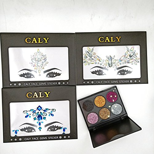 CALY CK-1013 Pack of 3 Face Crystal Sticker 1 Face and Body Colorful Glitter for Party for $<!--$38.97-->