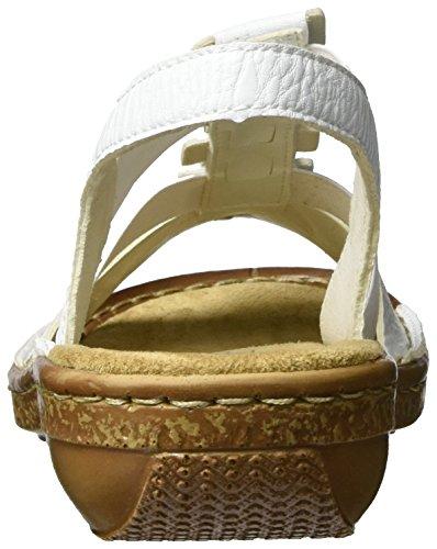 Rieker 62850, Sandalias con Cuña para Mujer Blanco (Weiss / 80)