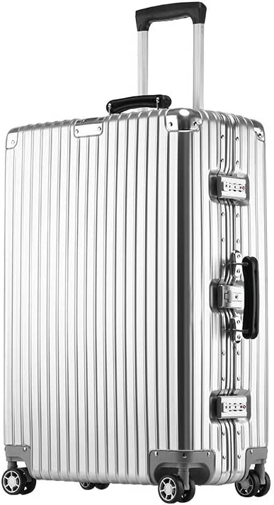Fengkuo Retro Suitcase Female 20 Inch Caster Aluminum Frame Password Box Right Angle Trolley Case Business Suitcase Male Color White Black Blue Size 52.53623cm Suitcase