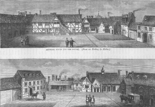 THE STRAND. Arundel House (from an etching by Hollar). London - c1880 - old print - antique print - vintage print - art picture prints of London