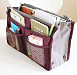 Large Purse Organizer Insert Handbag Pouch Tidy & Neat (Ships From USA) (Wine)
