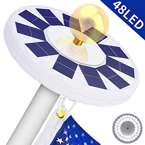48 LED Solar Flagpole Light, LBell 800 Lux Downlight Lighting for 15 to 25 Ft Flag Pole Topper. Three Models Brightness to Switch- Most Powerful, Brightest, Longest Lasting Night ()