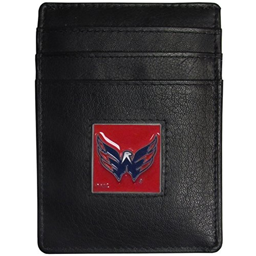 NHL Washington Capitals Leather Money Clip/Cardholder Packaged in Gift Box, Black