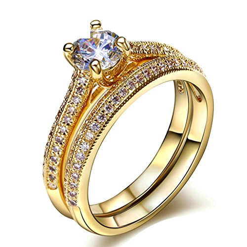 Daesar Gold Plated Rings Womens Engagement Rings Gold 2 Rows CZ Rhinestone Rings Size 8 by Daesar
