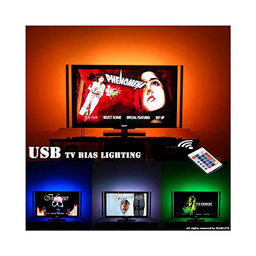 TV LED Backlight for 32 to 60in TV Bias Lighting, LED Light Strip for TV Ambient Lighting, 8.2ft USB TV Lights Strip with Remote 16 Colors, Dimmable, Sync ON/Off with TV