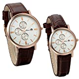 JewelryWe Men's & Women's Brown Genuine Leather Wrist Watches with Date Calendar for Couple (Set of 2)