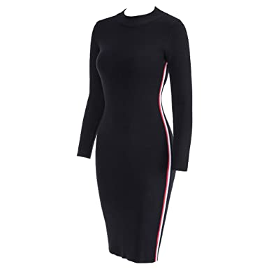 f3c0cc821ee7 Autumn Winter Women Striped Knitted Dresses Long Sleeve Bodycon Sexy Tight  Midi Wrap Sweater Dress Black