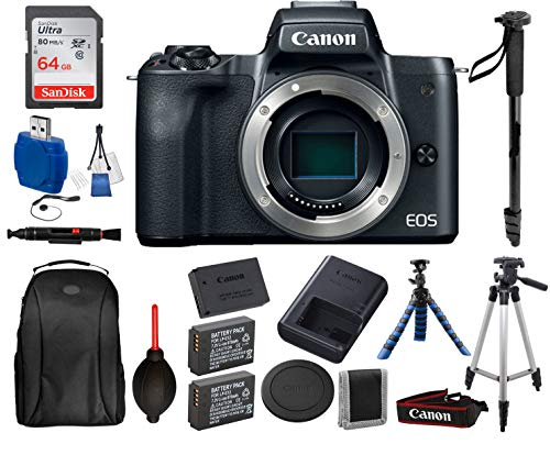 Canon EOS M50 Mirrorless Digital Camera (Body Only, Black) with 13PC Accessory Bundle - Includes SanDisk Ultra 64GB SDXC Memory Card + 2X Extended Life Replacement Battery (LP-E12) + More