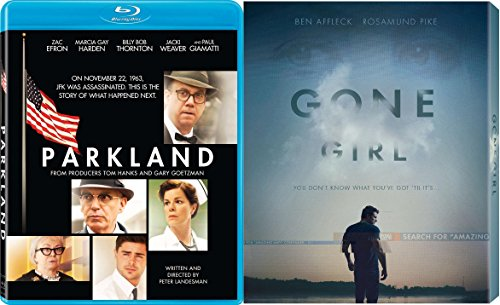 Gone Girl & Parkland 2 Pack Blu Ray Mystery Thriller Movie Set Academy Award - Efron Love Movie Zac