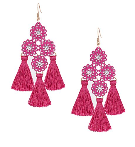 Drop Earrings Flower Crystal (Statement Rosy Tassel Dangle Earrings for Women VUJANTIRY Bohemian Chandelier Fringe Earring Crystal Flower Drop Earrings)