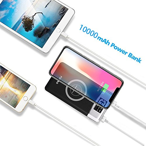 FDGAO Wireless Power Bank, Portable Charger 10000mAh Wireless Portable Charger with LED Digital Display Fast Charging for iPhone 8/8 Plus/iPhone X,Samsung Galaxy Note8/S8/S7/S7 Edge (Black) by FDGAO (Image #5)