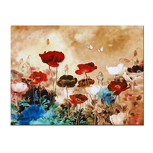 Blooming Poppies Floral Paintings, Comes Ready to Hang