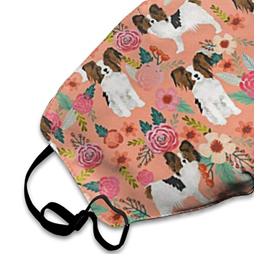 NOT Papillons Floral Peach Cute Pet PM2.5 Mask, Adjustable Warm Face Mask Unique Cover Filters Blocking Pollen Pollution Germs£¬Can Be Washed Reusable Pollen Masks Cotton Mouth Mask for Men Women