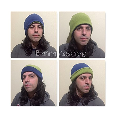 Handmade 4 in 1 Dark Blue and Olive Green Kawaii Fleece Green Peace Climate Earth Day Science Scientists March Beanie Hat]()