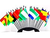 NORTHWEST AFRICAN WORLD FLAG SET with BASE--20 Polyester 4''x6'' Flags, One Flag From 20 Countries in Northwest Africa, 4x6 Miniature Desk & Table Flags, Small Mini Stick Flags