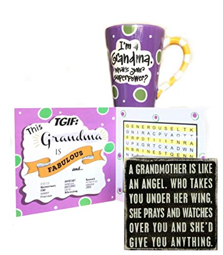 (I'm a Grandma, What's Your Super Power Coffee Mug (12 ounces) bundled with Primitives by Kathy A Grandmother is an Angel Classic Box Sign and a Word Search Game Greeting Card)
