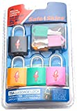 Safe Skies 4-pack TSA-Recognized Padlocks, Black/Yellow/Green/Pink, One Size