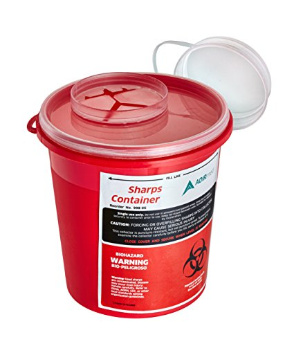 (AdirMed Round Sharps & Needle Biohazard Disposal Container - 1.5 Quart - 1 Pack)