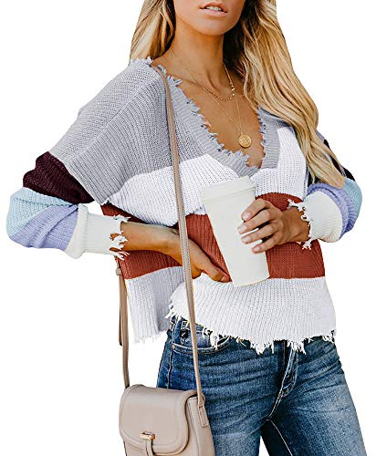 (Yacooh Womens Cropped Sweater Rainbow Striped Oversized Long Sleeve Knit V Neck Pullover (Small, ZA-Grey))