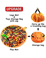"""Toy Bag and Toy Storage Mat Bag by Drawstring for Kids - Toy Organizer and Play Toy Mat Bag Block Storage Container 60"""" with Cap Like"""