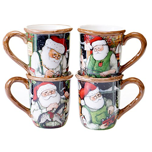 (Certified International Santa's Workshop Mugs (Set of 4), 16 oz, Multicolor )