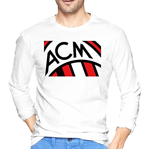 Men's Italian Football Club Ac Milan Power Logo Tshirts Long Sleeve White