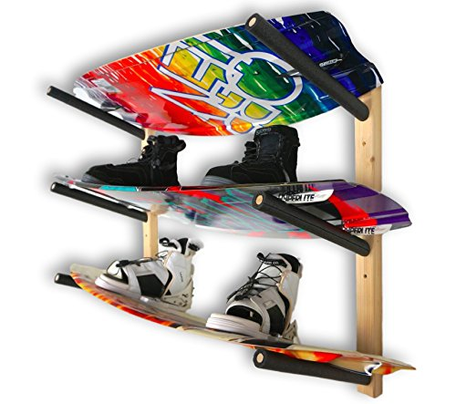 StoreYourBoard Wakeboard Wall Rack | Basic Wood Wakeboard Rack | 3 Boards