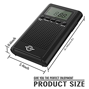 Pocket Radio, Digital AM/FM Radio with Clear Speaker, LCD Screen, Alarm Clock, and Stereo Mode