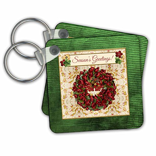 Beverly Turner Christmas Design - Holiday Red Green Wreath, Bells, Holly Background, Seasons Greetings - Key Chains - set of 4 Key Chains (Seasons Greetings Holly)