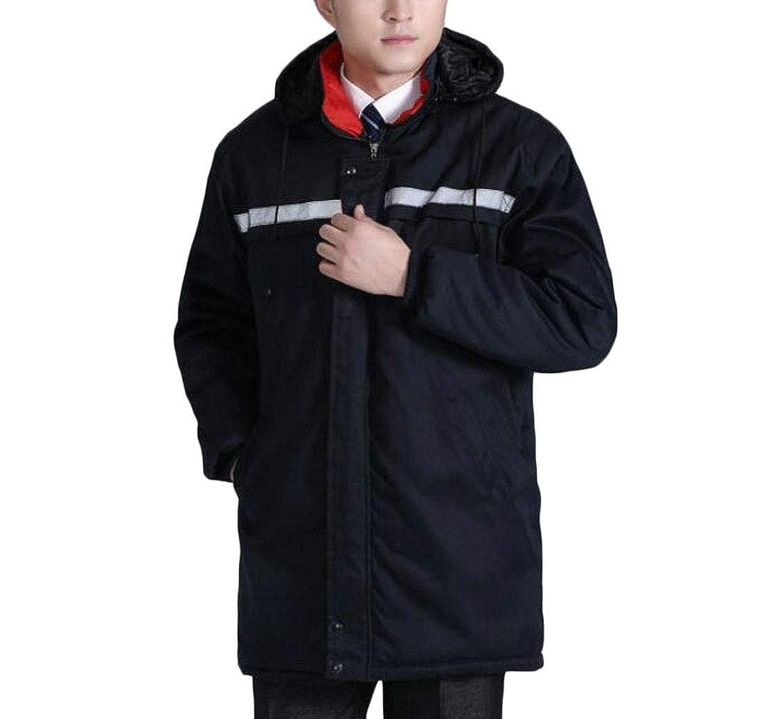 WSPLYSPJY Mens Winter Thicken Hoodies Waterproof Workwear Down Jacket Coat