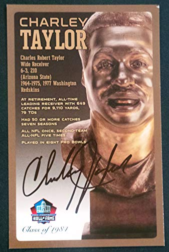 - PRO FOOTBALL HALL OF FAME Charley Taylor Signed Bronze Bust Set Autographed Card with COA (Limited Edition # of 150)
