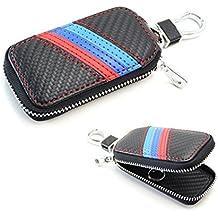 iJDMTOY (1) M-Colored Stripe Carbon Fiber Pattern Leather Key Holder Cover For BMW Fans