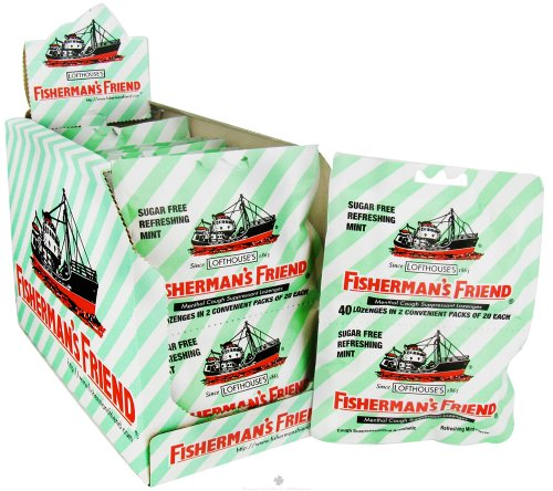 Fisherman's Friend - Menthol Cough Suppressant Lozenges Sugar Free Refreshing Mint 2 Pack - 40 Lozenges Sore Throat Lozenges Original Mint