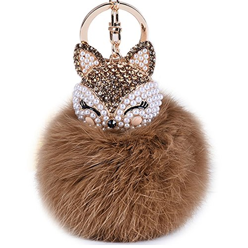 Boseen Genuine Rabbit Fur Ball Pom Pom Keychain with A fashion Alloy Fox Head Studded with Synthetic Diamonds(Rhinestone) for Womens Bag Cellphone Car Charm Pendant Decoration(Brown)