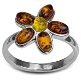 Sterling Silver Multicolor Amber Orange Flower Ring