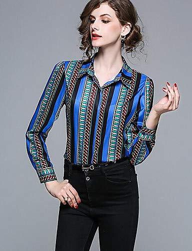 donna collo a righe YFLTZ Camicia da camicia Blue Pq1KcA7p