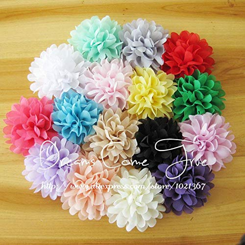 Decorations 200pcs/lot 4'' 16Colors Fashion Chic Chiffon Flower Accessories Artificial Fabric Hair Flowers for Baby Girl Headwear by Unknown
