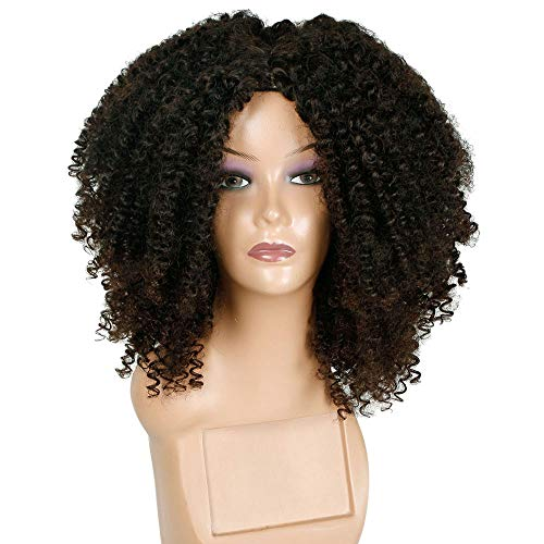 DEESEE(TM)Brown Synthetic Curly Wigs Women Short Afro Wig African American Natural