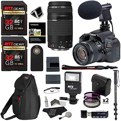 Canon SL2 DSLR Camera with 18-55mm is STM & 75-300mm Lens, 64GB Memory, Bag, Flash, Monpod, and Cleaning Kit Bundle
