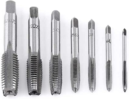 7X HSS Metric Thread Tapping Metalworking Drill Bits Spiral Pointed Taps M3-M12