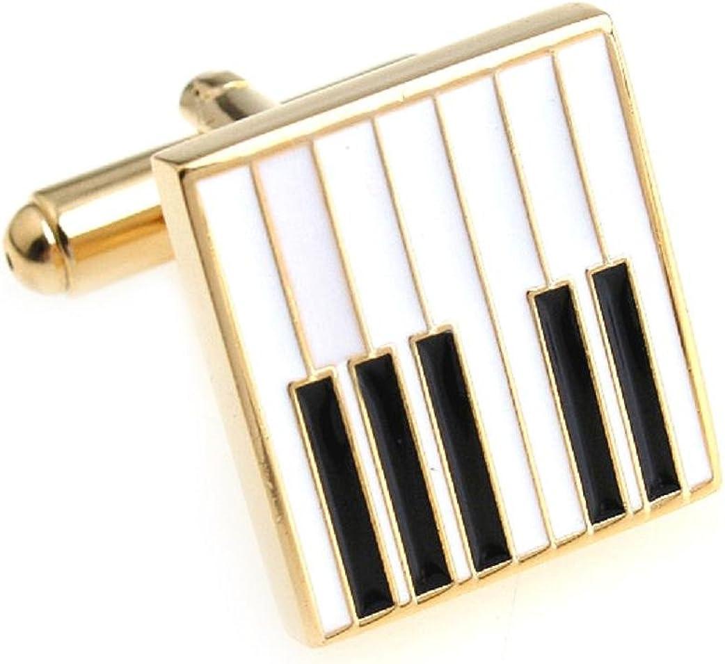 MRCUFF Piano Keys Music Pair Cufflinks in a Presentation Gift Box & Polishing Cloth