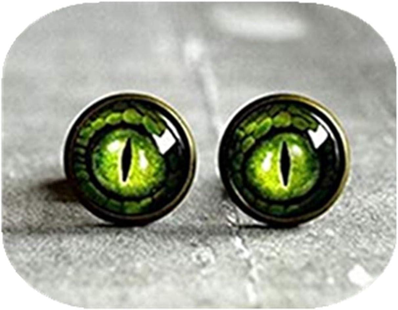 Verde Dragon Ojo tuerca, latón envejecido Stud Oreja Post ojo de dragón joyas, campana de cristal Stud Pendientes