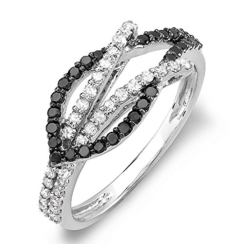 0.55 Carat (ctw) 14k White Gold Black & White Round Diamond Cocktail Right Hand Ring 1/2 CT