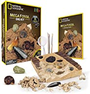 NATIONAL GEOGRAPHIC Mega Fossil Dig Kit – Excavate 15 real fossils including Dinosaur Bones, Mosasaur & Sh