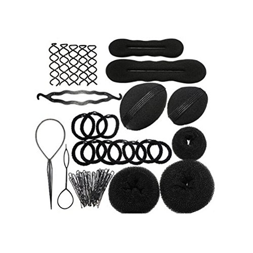 (Youngman Magic Hair Styling Clip Accessory Maker Tool Pads Foam Sponge Hairpins Bun Donut)