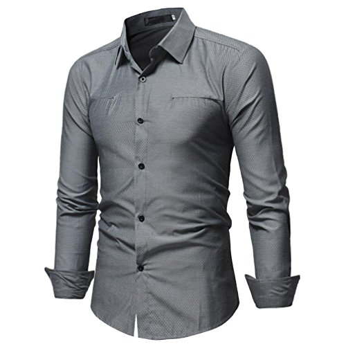 Ximandi Men's Long Sleeve Cotton Denim Cargo Shirts Solid Color Male Casual Shirt Grey