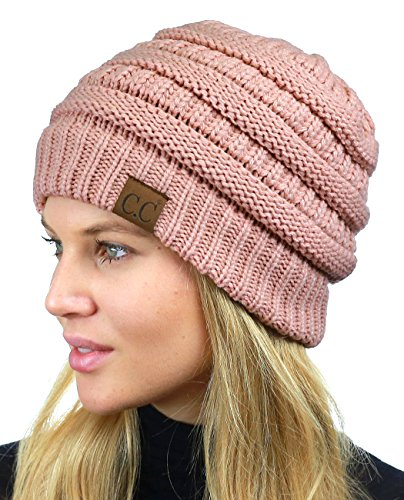 Pink Womens Beanie - C.C Unisex Chunky Soft Stretch Cable Knit Warm Fuzzy Lined Skully Beanie, Indi Pink